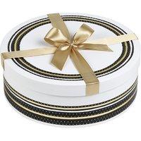 Cutie rotunda alb negru cu funda aurie