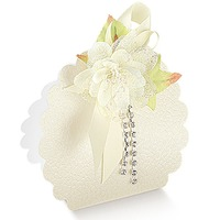 Marturie nunta Borsa rotunda Pelle bianco 58*40*85mm