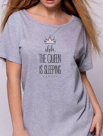 Camasa de noapte de bumbac cu imprimeu text Sensis Koszula Crown