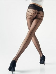 Ciorapi cu dunga si chilot decorat Marilyn Natti I14 20 den
