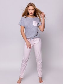 Pijamale de bumbac cu inimioare si fundita Sensis Hannah