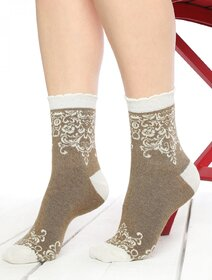 Sosete colorate cu motive crem Socks Concept SC-1721-2