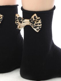 Sosete negre cu fundita animal print Socks Concept SC-1733