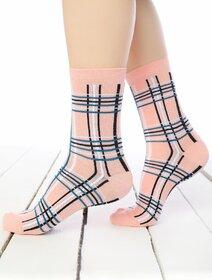 Sosete somon cu dungi in carouri Socks Concept SC-1870