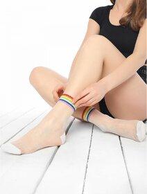 Sosete transparente cu fir metalizat si culori curcubeu Socks Concept SC-1616