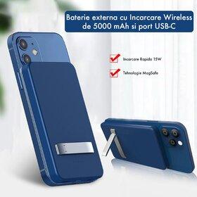 Baterie externa MagSafe cu Incarcare Wireless de 15W si capacitate de 5000 mAh cu port tip USB-C