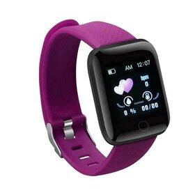 Ceas Smart cu monitorizare ritm cardic, masurare pasi, cu notificari prin Bluetooth Purple