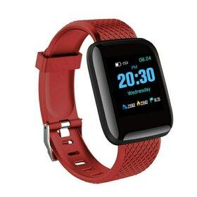 Ceas Smart cu monitorizare ritm cardic, masurare pasi, cu notificari prin Bluetooth Burgundy