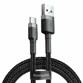 Cablu ultra-lung USB / USB Tip C cu impletitura de nylon Baseus Cafule QC3.0 2A 3M Black&Silver