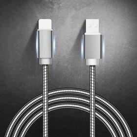 Cablu USB Metalic Argintiu cu mufa Lightning