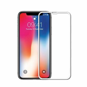 Folie de sticla (Tempered Glass) Premium cu margini colorate pentru iPhone 11 Pro Max/ iPhone XS MAX White