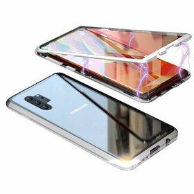 Husa 360 Magnetica cu Sticla fata + spate pentru Galaxy Note 10 Silver