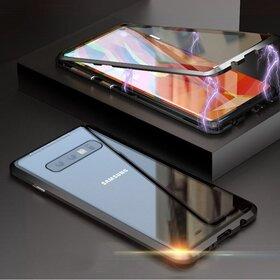 Husa 360 Magnetica cu Sticla fata + spate pentru Galaxy S10 Plus Silver