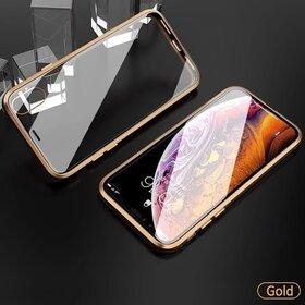 Husa 360 Magnetica cu Sticla fata + spate pentru iPhone XR Gold