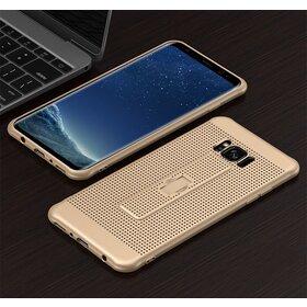 Husa Air cu perforatii si inel pentru Galaxy S8 Gold