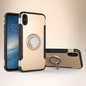 Husa Armor cu inel si magnet pentru iPhone X Gold