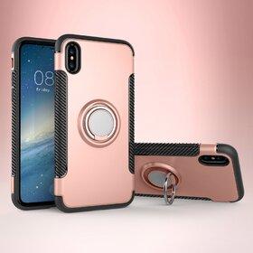 Husa Armor cu inel si magnet pentru iPhone X Rose Gold