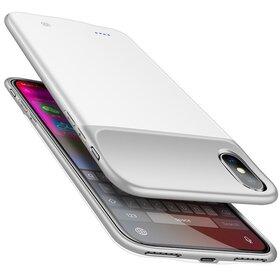 Husa cu baterie externa Slim pentru iPhone X/ XS White