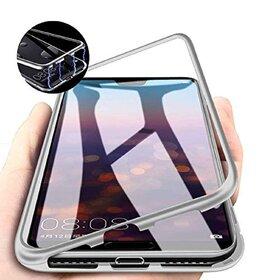 Husa cu Bumper Magnetic si Spate din Sticla Securizata pentru Galaxy A10 Silver