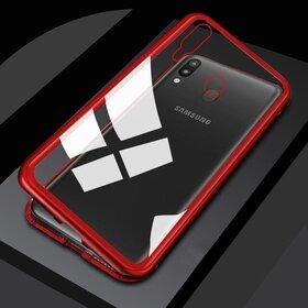 Husa cu Bumper Magnetic si Spate din Sticla Securizata pentru Galaxy A40 Red
