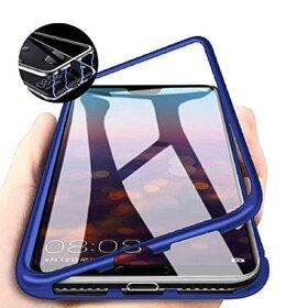 Husa cu Bumper Magnetic si Spate din Sticla Securizata pentru Galaxy A40 Blue