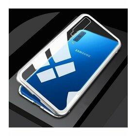 Husa cu Bumper Magnetic si Spate din Sticla Securizata pentru Galaxy A50 Silver