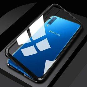 Husa cu Bumper Magnetic si Spate din Sticla Securizata pentru Galaxy A7 (2018) Black