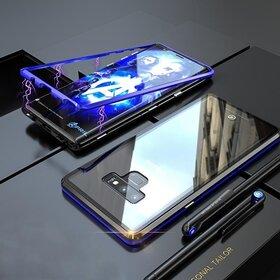 Husa cu Bumper Magnetic si Spate din Sticla Securizata pentru Galaxy Note 8 Blue