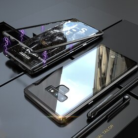 Husa cu Bumper Magnetic si Spate din Sticla Securizata pentru Galaxy Note 9 Black