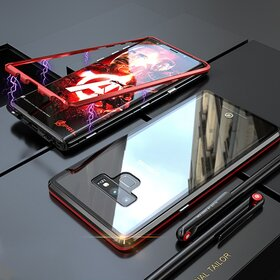 Husa cu Bumper Magnetic si Spate din Sticla Securizata pentru Galaxy Note 9 Red