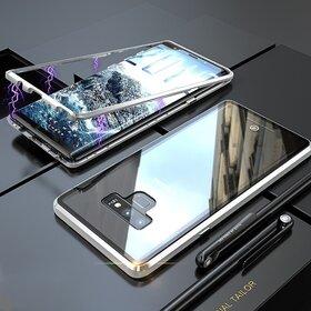 Husa cu Bumper Magnetic si Spate din Sticla Securizata pentru Galaxy Note 9 Silver