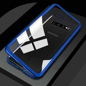 Husa cu Bumper Magnetic si Spate din Sticla Securizata pentru Galaxy S10 Blue
