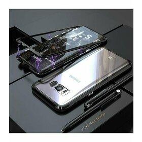 Husa cu Bumper Magnetic si Spate din Sticla Securizata pentru Galaxy S7 Black