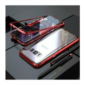 Husa cu Bumper Magnetic si Spate din Sticla Securizata pentru Galaxy S7 Edge Red