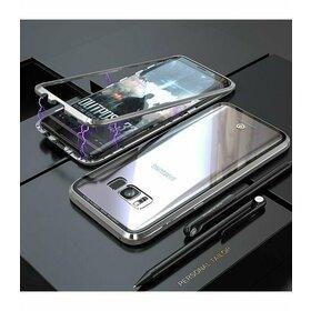 Husa cu Bumper Magnetic si Spate din Sticla Securizata pentru Galaxy S7 Edge Silver