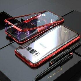 Husa cu Bumper Magnetic si Spate din Sticla Securizata pentru Galaxy S8 Red