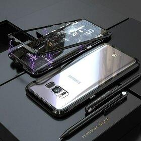 Husa cu Bumper Magnetic si Spate din Sticla Securizata pentru Galaxy S8 Plus Black