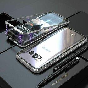 Husa cu Bumper Magnetic si Spate din Sticla Securizata pentru Galaxy S8 Plus Silver
