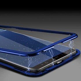Husa cu Bumper Magnetic si Spate din Sticla Securizata pentru Galaxy S9 Plus Blue