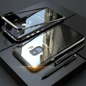 Husa cu Bumper Magnetic si Spate din Sticla Securizata pentru Galaxy S9 Plus Black