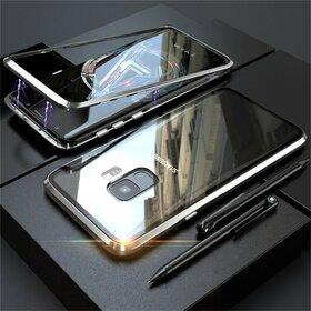 Husa cu Bumper Magnetic si Spate din Sticla Securizata pentru Galaxy S9 Plus Silver