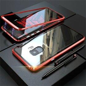 Husa cu Bumper Magnetic si Spate din Sticla Securizata pentru Galaxy S9 Plus Red