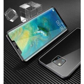 Husa cu Bumper Magnetic si Spate din Sticla Securizata pentru Huawei Mate 20 Black