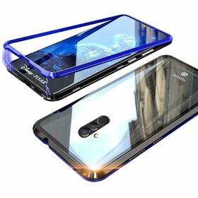 Husa cu Bumper Magnetic si Spate din Sticla Securizata pentru Huawei Mate 20 Lite Blue