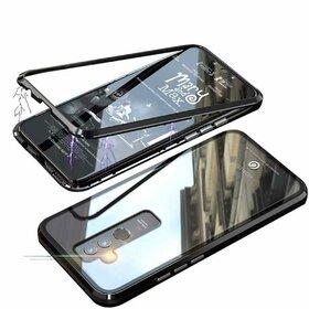 Husa cu Bumper Magnetic si Spate din Sticla Securizata pentru Huawei Mate 20 Lite Black