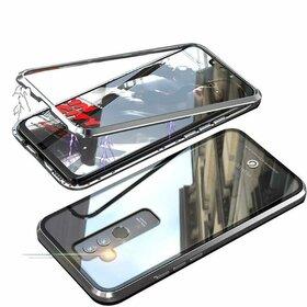 Husa cu Bumper Magnetic si Spate din Sticla Securizata pentru Huawei Mate 20 Lite Silver