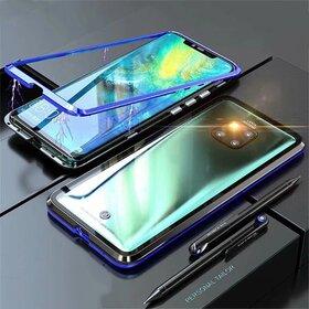 Husa cu Bumper Magnetic si Spate din Sticla Securizata pentru Huawei Mate 20 Pro Blue
