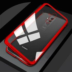 Husa cu Bumper Magnetic si Spate din Sticla Securizata pentru Huawei Mate 20 Pro Red