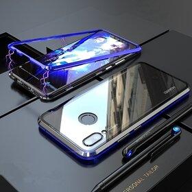 Husa cu Bumper Magnetic si Spate din Sticla Securizata pentru Huawei P20 Lite (2018) Blue