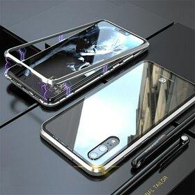 Husa cu Bumper Magnetic si Spate din Sticla Securizata pentru Huawei P20 Pro Silver